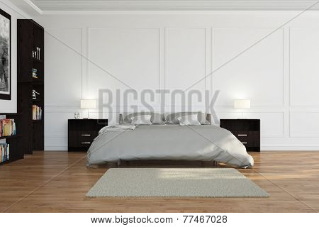 Bed in bedroom with stucco and white walls (3D Rendering)