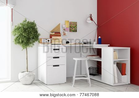 Small desk in living room for home office on a wall (3D Rendering)
