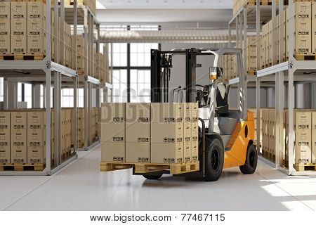 Forklift in warehouse with many boxes on pallet (3D Rendering)