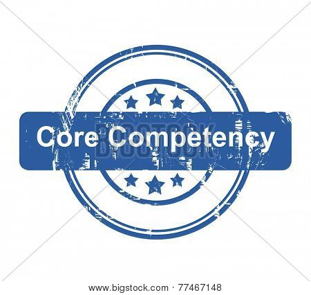 Core competency business concept stamp with stars isolated on a white background.