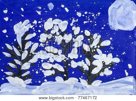 christmas night in forest with full moon. child drawing.