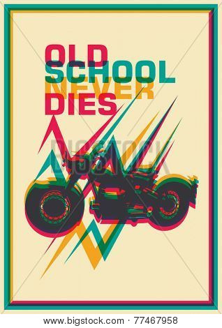 Retro poster with motorbike. Vector illustration.