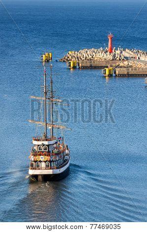 Historic Sailing Ship Leaving Port Of Kolobrzeg, Poland.