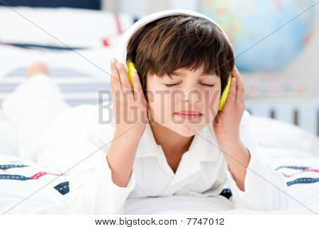 Cute Boy Listenning Music