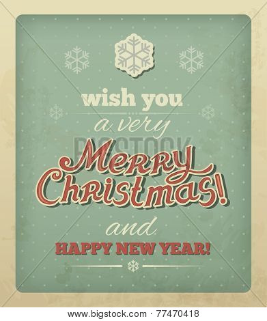 Christmas vintage card with typography. Vector eps 10.