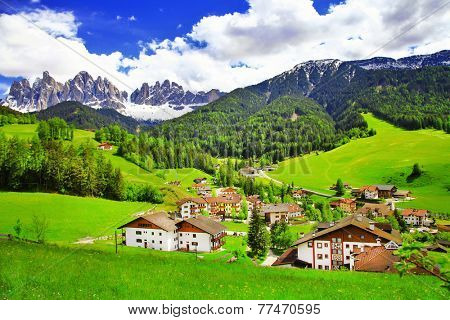 amazing scenery of Dolomites, Italian Alps, View with village Ma