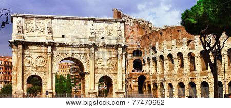 Colosseo and arco di costantino, great Roma