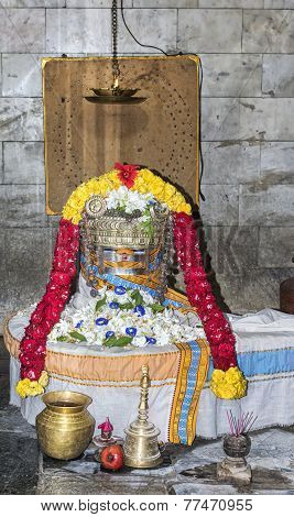The Suriya Shiva Lingam In Its Shrine.