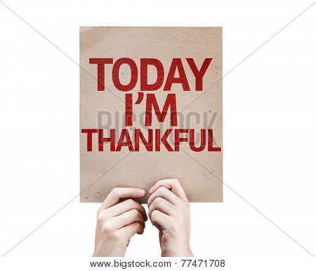 Today I'm Thankful card isolated on white background