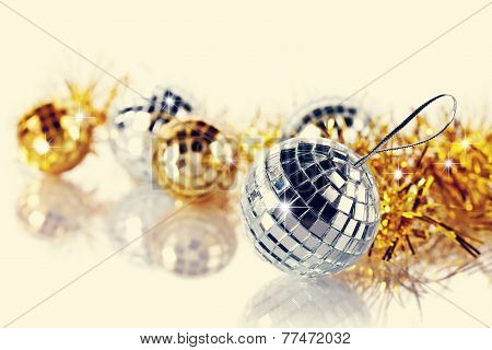 Mirror Spheres And New Year's Tinsel.