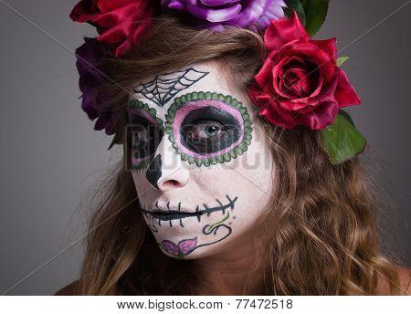 Halloween Witch. Beautiful Woman Wearing Santa Muerte Mask Portrait