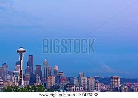 Seattle city skyline after sunset.
