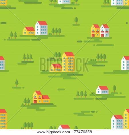 Landscape with buildings - vector background seamless pattern in flat style design.