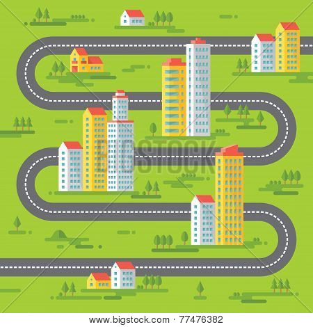 Buildings and road - vector background illustration in flat style design.
