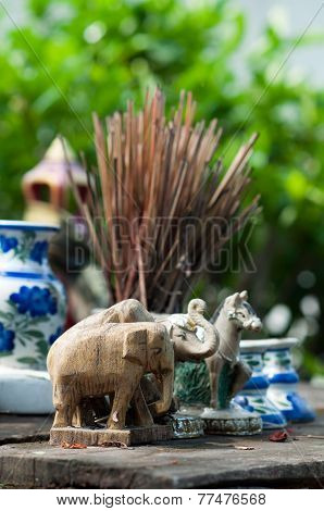 Elephant Placed In Front The Shrine Of The Household God