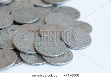 Old Thai Baht Coins (one Baht Type) Background