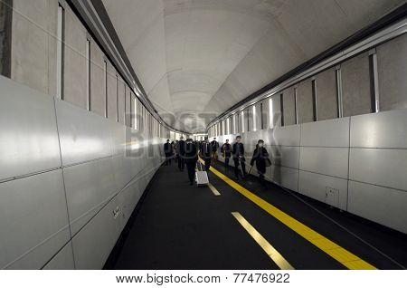 Tokyo, Japan - November 25, 2013: People Walking In Tunnell At Sekiguchi Station
