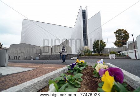 Tokyo, Japan - November 25, 2013: Tourist Visit St. Mary's Cathedral In Tokyo.japan