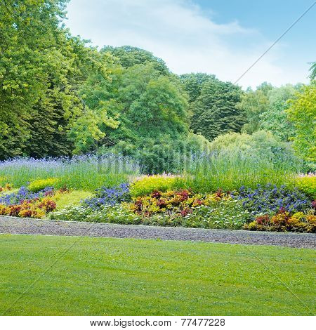 Summer Park With Beautiful Flowerbed