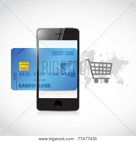 Blue Credit Cart Phone Shopping Concept