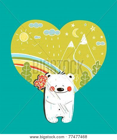 Cartoon Baby Bear with Nature Heart Background and Flowers