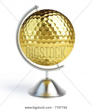 gold golf ball sign