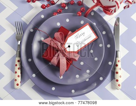 Bright Colorful Modern Christmas Children Family Party Table Place Settings In Purple, Red And White
