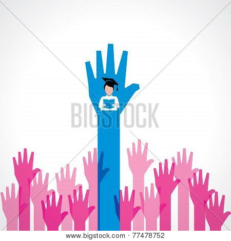 Graduate boy in female crowd stock vector