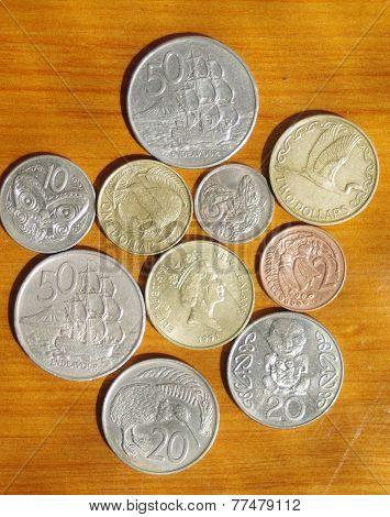 New Zealand decimal coins.