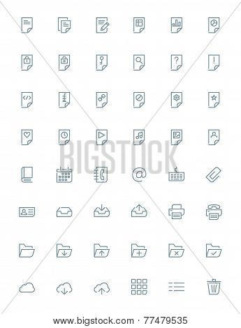 Thin line document icons set for web and mobile apps. Gray icons on white background. Document, file