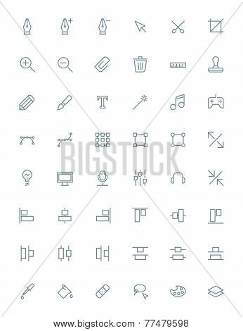 Thin line design tools icons set for web and mobile apps. Gray icons on white background. Pen, tool,