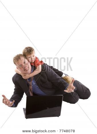Child Hanging On Father Computer