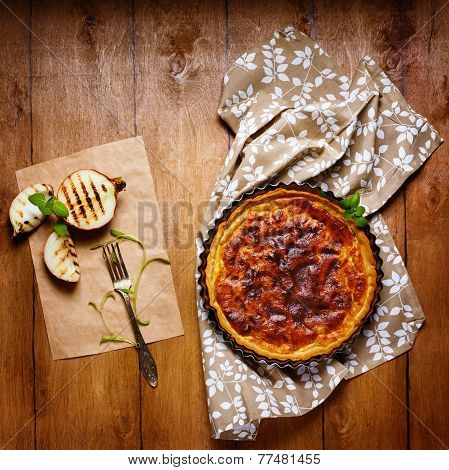 Onion Pie Or Tart Served With Grilled Onion
