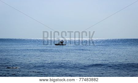 Pedal boat alone at the sea