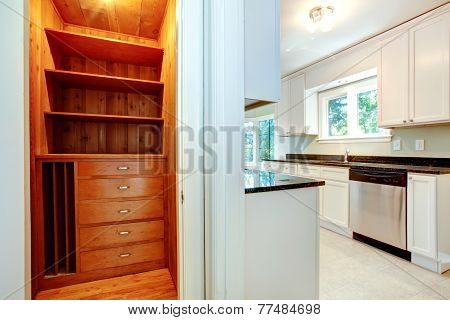 Wooden Closet In Kitchen Room