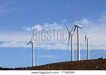 Electric Windmill Aerogenerator Blue Sky Daytime