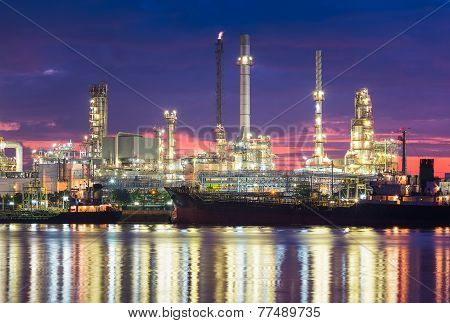 Oil Refinery reflected on river