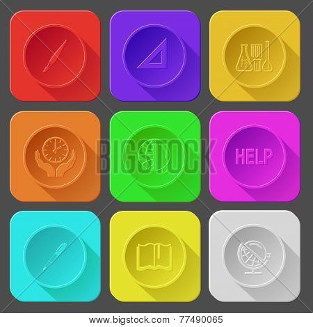 brush, triangle ruler, chemical test tubes, clock in hands, globe and magnifying glass, help, ink pen and pencil, book, globe and loupe. Color set vector icons.