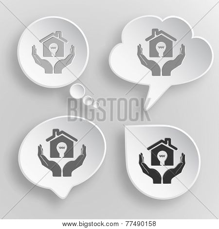 economy in hands. White flat vector buttons on gray background.