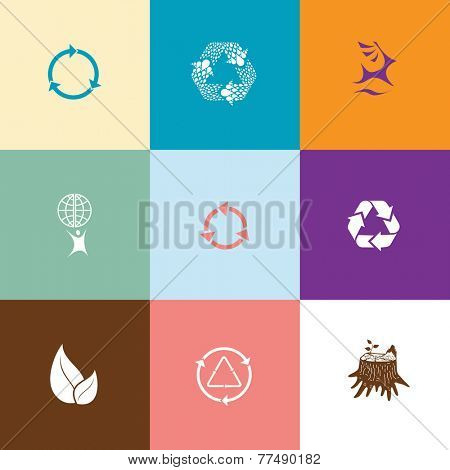 Ecology set. Flat color vector icons.