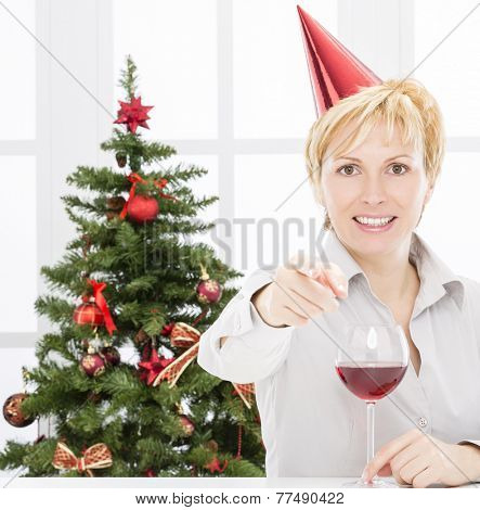 Forty years old woman celebrate good business year