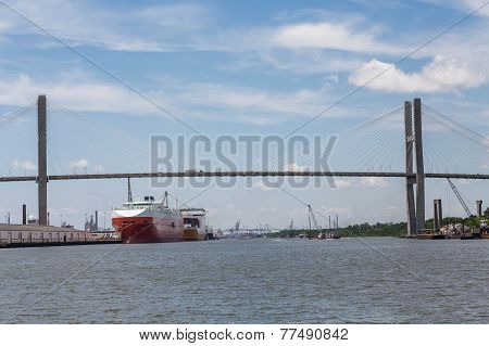 Two Huge Freighters In Savannah Harbor