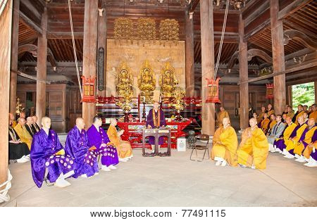 KYOTO, JAPAN-OCT 23, 2014: Ceremony in Senny-ji Temple on Oct 23, 2014 in Kyoto, Japan. Senny-ji  is a of Shingon Buddhism temple in Higashiyama-ku in Kyoto, Japan.