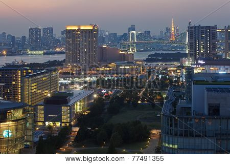 View of Tokyo bay area and tokyo Tower at sunset