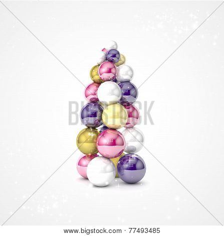 Realistic vector christmas tree made from balls