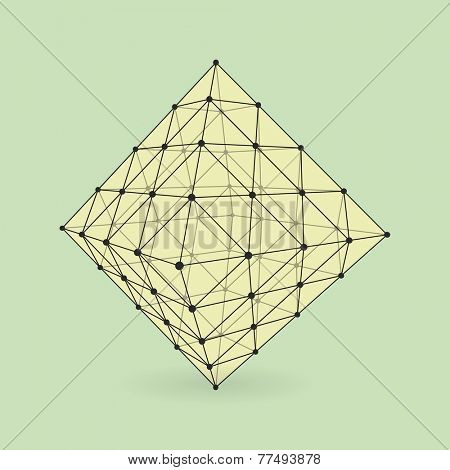 Stone. Abstract 3d vector background for business presentations. Polygonal network element. Asymmetric structure. Vector Illustration.
