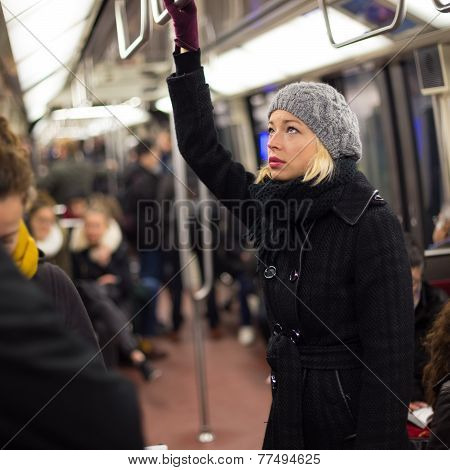 Woman on subway.