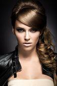stock photo of braids  - Beautiful girl with bright make - JPG
