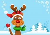 stock photo of rudolf  - Rudolf the red nosed reindeer greeting christmas card - JPG