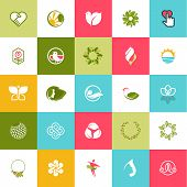 image of cosmetic products  - Set of flat design icons for beauty and nature - JPG